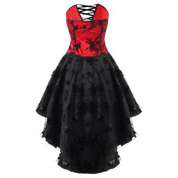 Lace Up High Low Hem Tube Corset Dress - RED/BLACK XL