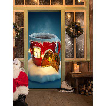 Christmas Cup House Pattern Door Stickers - COLORMIX 38.5*200CM*2PCS