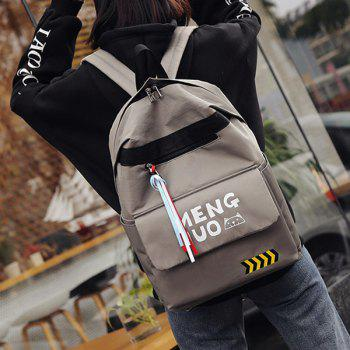 Color Block Print Letter Striped Backpack - GRAY