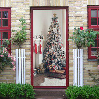 Fireplace and Christmas Tree Pattern Door Cover Stickers - COLORMIX 38.5*200CM*2PCS