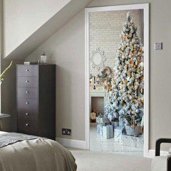 Christmas Tree Pattern Decorative Door Stickers - COLORMIX 38.5*200CM*2PCS
