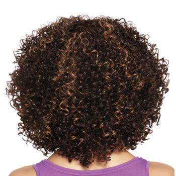 Medium Side Bang Fluffy Afro Kinky Curly Colormix Synthetic Wig - GOLD BROWN