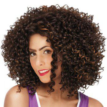 Medium Side Bang Fluffy Afro Kinky Curly Colormix Synthetic Wig - GOLD BROWN GOLD BROWN
