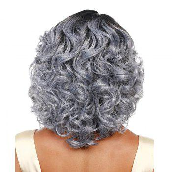 Medium Side Parting Colormix Fluffy Curly Synthetic Wig - BLACK/GREY