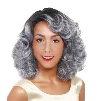 Medium Side Parting Colormix Fluffy Curly Synthetic Wig - BLACK AND GREY BLACK/GREY