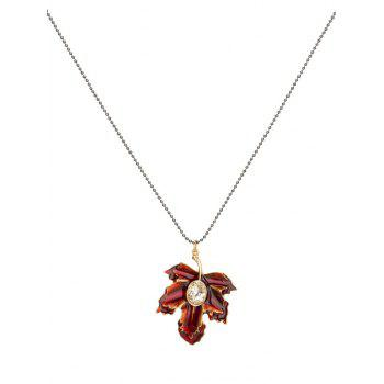 Faux Crystal Maple Leaf Pendant Necklace - RED RED