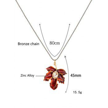 Faux Crystal Maple Leaf Pendant Necklace -  RED