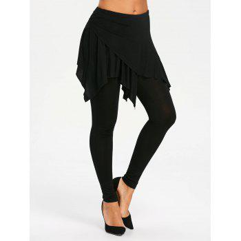 High Waist Handkerchief Skirted Leggings - BLACK BLACK