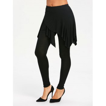 High Waist Handkerchief Skirted Leggings - BLACK XL