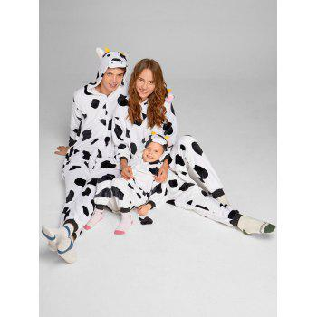 Milch Cow Matching Family Christmas Animal Onesie Pajamas - WHITE/BLACK MOM S