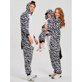 Zebra Animal Family Christmas Onesie Pajama - ZEBRA STRIPE DAD M