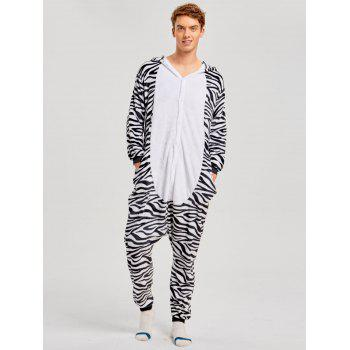 Zebra Animal Family Christmas Onesie Pajama - ZEBRA STRIPE DAD XL