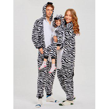 Zebra Animal Family Christmas Onesie Pajama - ZEBRA STRIPE KID 100