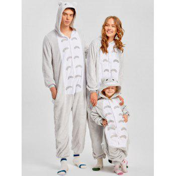 Christmas Cut Cat Animal Onesie Pajama for Family - GRAY KID 110
