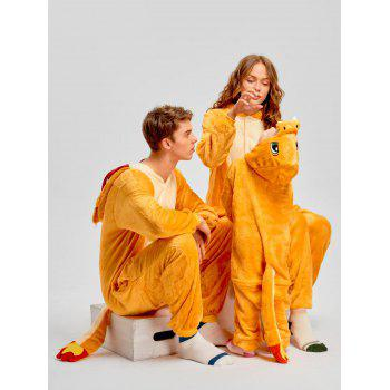 Family Christmas Fiery Dragon Animal Onesie Pajama - YELLOW DAD XL