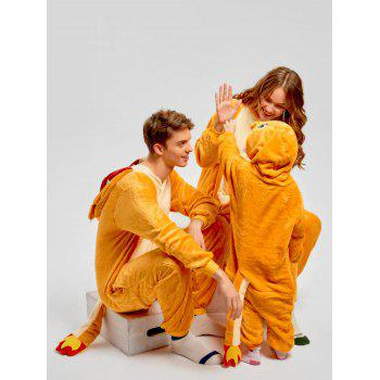 Family Christmas Fiery Dragon Animal Onesie Pajama - YELLOW MOM M