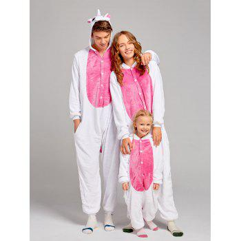Fleece Unicorn Animal Family Onesie Pajamas - DEEP PINK MOM S
