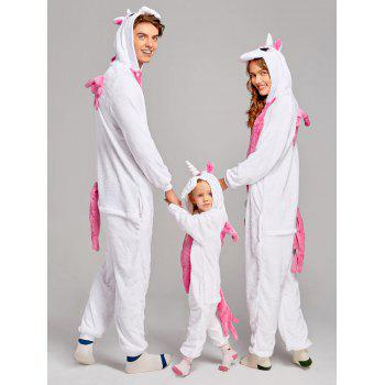 Fleece Unicorn Animal Family Onesie Pajamas - DEEP PINK MOM M