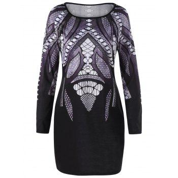 Plus Size Long Sleeve Fitted Tee Dress - COLORMIX COLORMIX