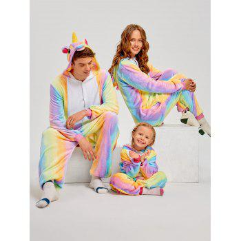 Christmas Rainbow Unicorn Animal Family Onesie Pajamas - CREAM DAD XL
