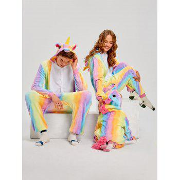 Christmas Rainbow Unicorn Animal Family Onesie Pajamas - CREAM MOM S