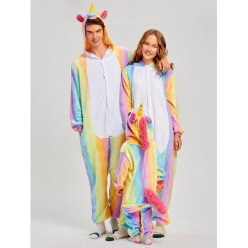 Christmas Rainbow Unicorn Animal Family Onesie Pajamas - CREAM MOM L