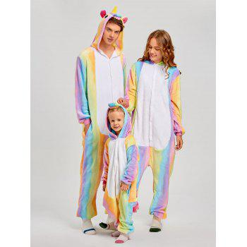 Christmas Rainbow Unicorn Animal Family Onesie Pajamas - CREAM KID 130