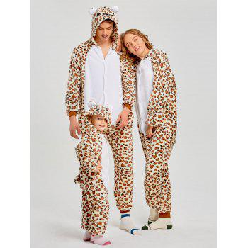 Family Leopard Printed Bear Animal  Onesie Pajamas  - LEOPARD PRINT PATTERN DAD M