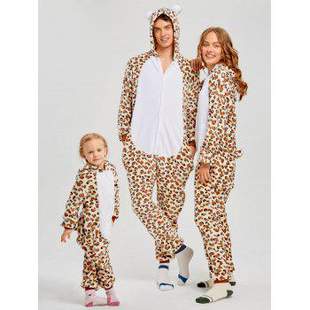 Family Leopard Printed Bear Animal  Onesie Pajamas  - LEOPARD PRINT PATTERN DAD XL