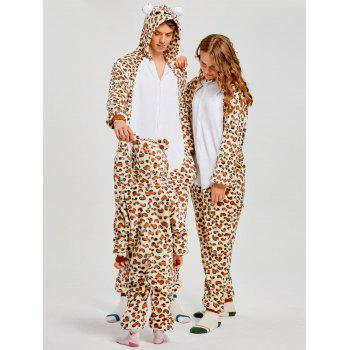 Family Leopard Printed Bear Animal  Onesie Pajamas  - LEOPARD PRINT PATTERN MOM L