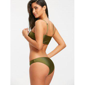 Cactus Graphic Bandeau Bikini Swimwear - BLACKISH GREEN S