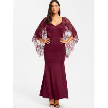 Open Back Lace Batwing Maxi Dress - WINE RED L