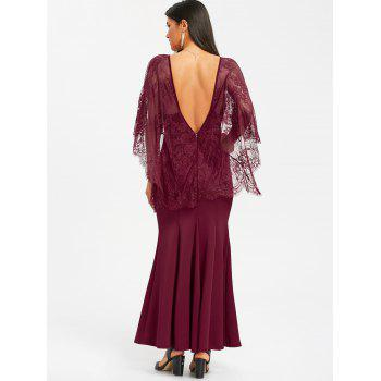 Open Back Lace Batwing Maxi Dress - WINE RED WINE RED