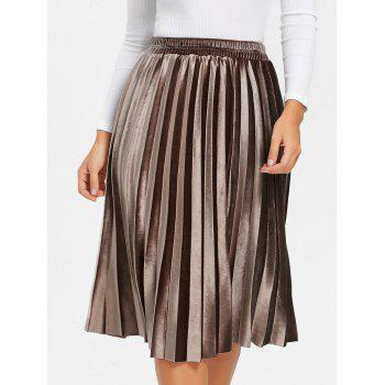 Midi High Waisted Velvet Pleated Skirt - BROWN BROWN