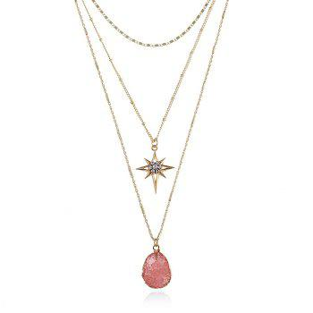 Natural Stone Star Geometric Layered Necklace - PINK PINK
