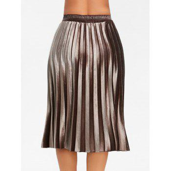 Midi High Waisted Velvet Pleated Skirt - BROWN L