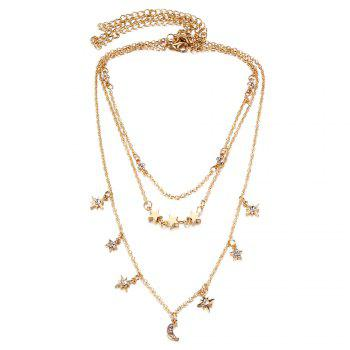 Faux Crystal Moon Star Shape Three Layered Necklace - GOLDEN GOLDEN