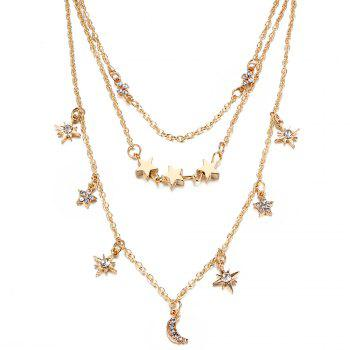 Faux Crystal Moon Star Shape Three Layered Necklace -  GOLDEN