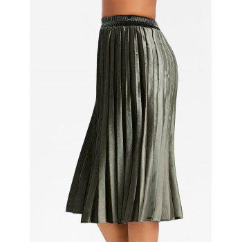 Midi High Waisted Velvet Pleated Skirt - ARMY GREEN XL