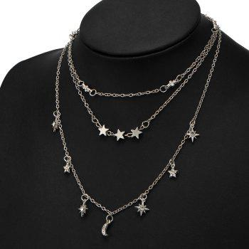 Faux Crystal Moon Star Shape Three Layered Necklace - SILVER