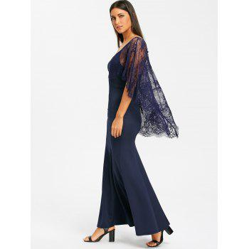 Open Back Lace Batwing Maxi Dress - NAVY BLUE S