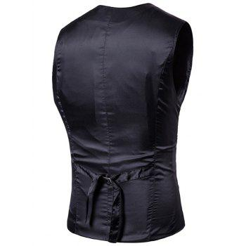 Single Breasted V Neck Vertical Stripes Waistcoat - BLACK BLACK
