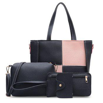 PU Leather 4 Pieces Shoulder Bag Set - PINK PINK