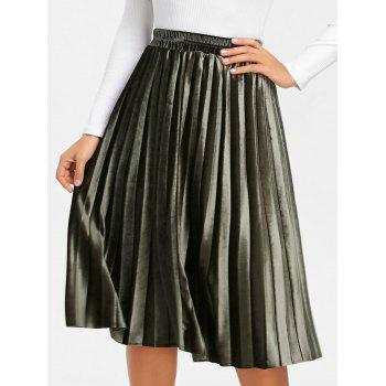 Midi High Waisted Velvet Pleated Skirt - ARMY GREEN ARMY GREEN