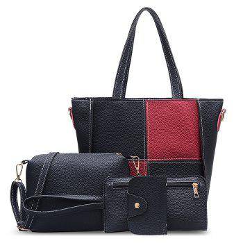 PU Leather 4 Pieces Shoulder Bag Set - RED RED