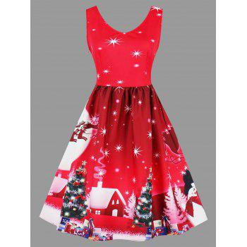 Plus Size Christmas Tree Moon Snowman Dress - RED RED