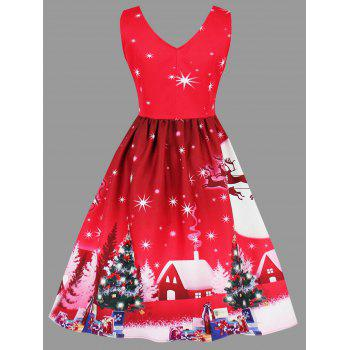 Plus Size Christmas Tree Moon Snowman Dress - RED 3XL