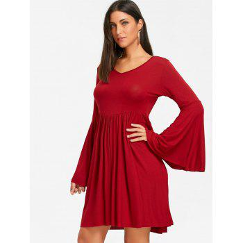 Cut Out Bell Sleeve Swing Mini Dress - RED RED