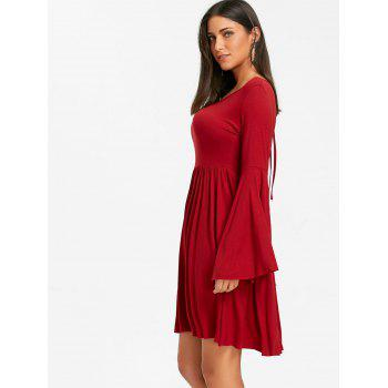 Cut Out Bell Sleeve Swing Mini Dress - RED M