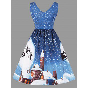 Christmas Moon Print Plus Size Sleeveless Dress - AZURE AZURE
